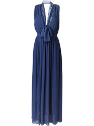Msgm Pussy Bow Evening Dress Blue