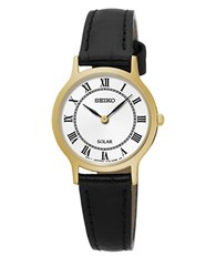 Seiko Solar Stainless Steel And Leather Strap Watch Sup304 Black