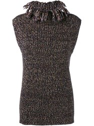 Valentino Sleeveless Knit Top Brown