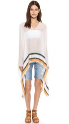 Rag And Bone Border Stripe Poncho White