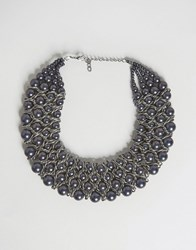 Paper Dolls Bead Multi Row Statement Necklace Gunmetal Grey