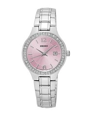 Seiko Sur787 Crystal Pink Stainless Steel Bracelet Watch Silver