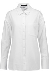 Alexander Wang Embroidered Cotton Blend And Cotton Pique Shirt White