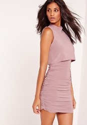 Missguided Slinky Racer High Neck Bodycon Dress Purple Mauve