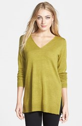 Women's Eileen Fisher Deep V Neck Slim Merino Tunic