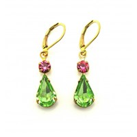 Zt Green Peridot And Rose Pink Vintage Jewel Earrings