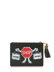Moschino Shop Sign Leather Pouch