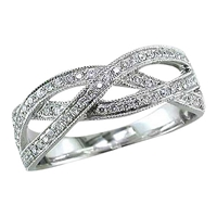 Ewa 18Ct White Gold Diamond Set Weave Ring White