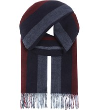 Aspinal Of London Striped Cashmere Scarf Navy