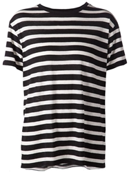 R 13 R13 Horizontal Stripe T Shirt Black