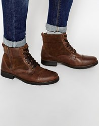 New Look Military Boot In Brown Leather Midbrown