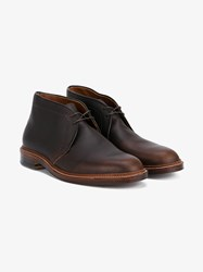 Alden Chukka Leather Boots Dark Brown Blue Denim Camel