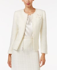 Tahari By Arthur S. Levine Asl Boucle Jacket With Flower White