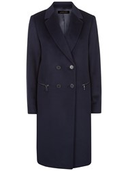 Jaeger Wool Double Breasted Zip Coat Midnight