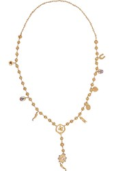 Dolce And Gabbana Gold Plated Swarovksi Crystal Necklace Metallic
