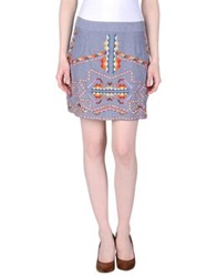 Antik Batik Mini Skirts Blue