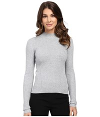 Michael Michael Kors Long Sleeve Mock Rib Sweater Pearl Heather Women's Sweater Gray