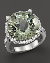 Roberto Coin 18K White Gold Ipanema Round Green Amethyst And Diamond Ring White Gold Green