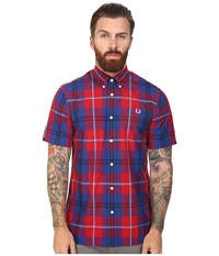 Fred Perry Bold Check Shirt England Red Men's Short Sleeve Button Up
