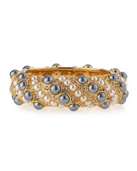 Pearly And Crystal Embellished Cuff Bracelet Pearl Gray Pearl Women's Pearl Grey Pearl Kenneth Jay Lane