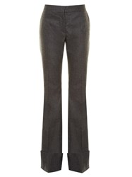Stella Mccartney Flared Wool And Cashmere Blend Trousers Light Grey