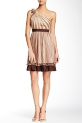 Ryu One Shoulder Lace Accent Dress Beige