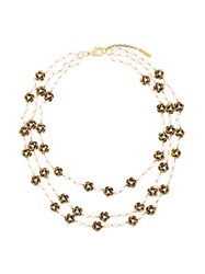 Marc Jacobs Multi Strand Flower Necklace Metallic