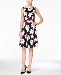 Nine West Sleeveless Belted Floral Print Fit And Flare Dress Black White