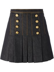 Hilfiger Collection Double Breasted Pleated Skirt Blue