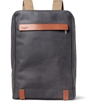 Brooks England Pickzip Leather Trimmed Cotton Canvas Backpack Anthracite