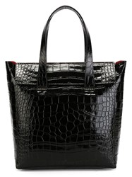 Giorgio Armani Embossed Crocodile Effect Tote Black