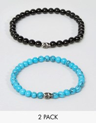 Simon Carter Mini Skull Beaded Bracelets In 2 Pack Exclusive To Asos Black Blue Multi