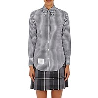 Thom Browne Women's Gingham Fitted Button Down Blouse Navy