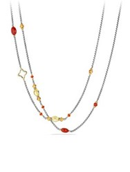 David Yurman Bead And Chain Necklace With Carnelian Amber Citrine And 18K Gold