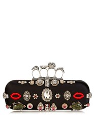 Alexander Mcqueen Crystal Embellished Satin Knuckle Box Clutch Black Multi