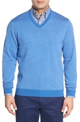 Men's Bobby Jones Merino Wool V Neck Sweater Sapphire