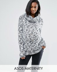 Mama Licious Mamalicous Long Sleeve Roll Neck Knitted Jumper Grey