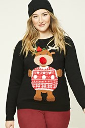 Forever 21 Plus Size Reindeer Sweater Black Red