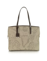 Alviero Martini 1A Prima Classe Geo Printed Large Business New Classic Shoulder Bag Taupe