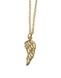 Lord And Taylor Sterling Silver Wing Pendant Necklace Gold