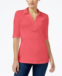 Karen Scott Elbow Sleeve Lace Up Top Only At Macy's Coral Tile