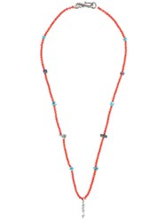 Valentino Garavani Beaded Arrow Pendant Necklace Red