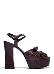 Saint Laurent Candy Faux Crocodile Platform Sandals Brown