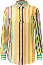 Etro Striped Silk Satin Shirt Yellow