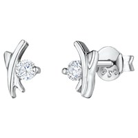 Jools By Jenny Brown Cubic Zirconia Kiss Stud Earrings Silver