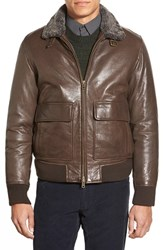 Men's Vince Camuto Leather Aviator Jacket With Genuine Shearling Collar