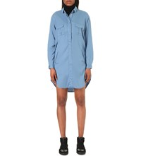 The Kooples Slouchy Twill Shirt Dress Blue Grey
