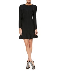 Herve Leger Barbara Novelty Long Sleeve Bandage Dress
