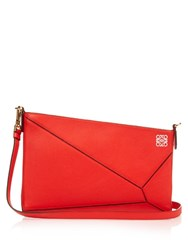 Loewe Puzzle Leather Clutch Red Multi