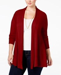 Ny Collection Plus Size Open Front Textured Cardigan Red Fox